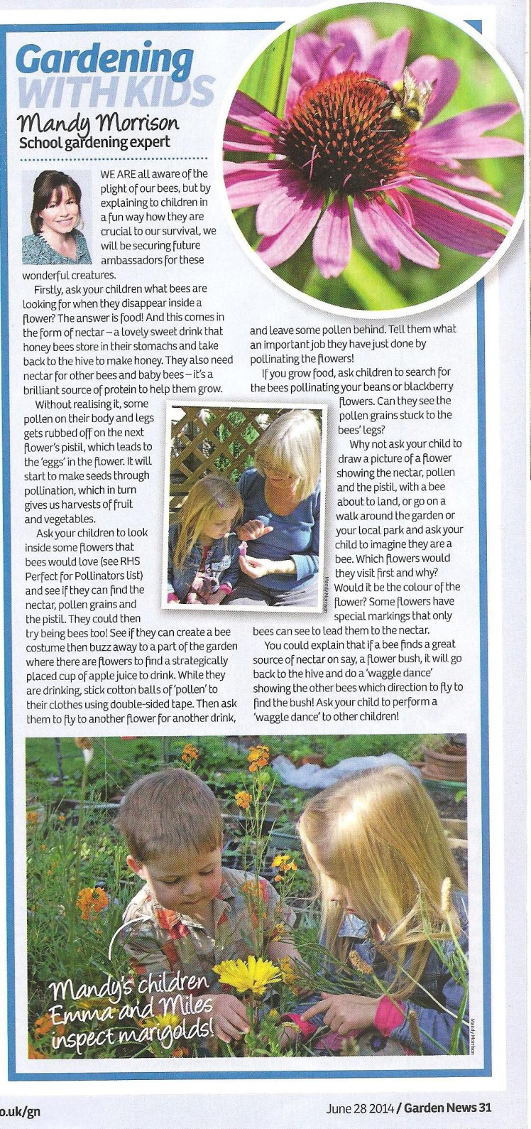 Garden News article 28th June 2014 Bees